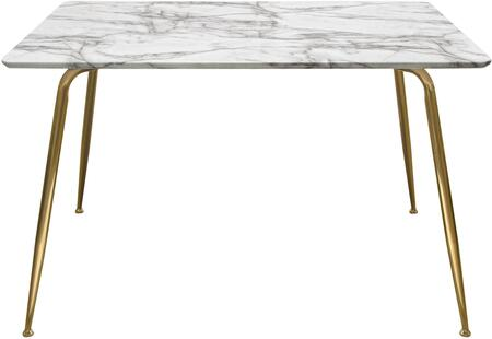 Chance Collection CHANCEDTMAGD Dining Table with Rectangular Shape  Faux Marble Top  MDF Material and Brushed Gold Metal Legs in White and