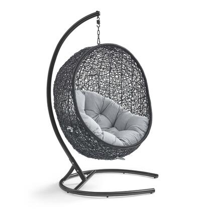 Encase Collection EEI-3943-BLK-GRY Sunbrella Swing Outdoor Patio Lounge Chair with All-weather Espresso Synthetic Woven Rattan Seating Plush