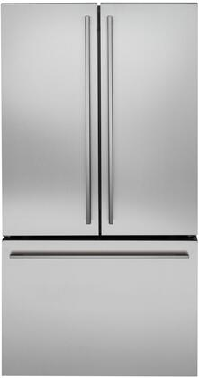 Monogram Minimalist ZWE23ESNSS French Door Refrigerator Stainless Steel, ZWE23ESNSS Front View