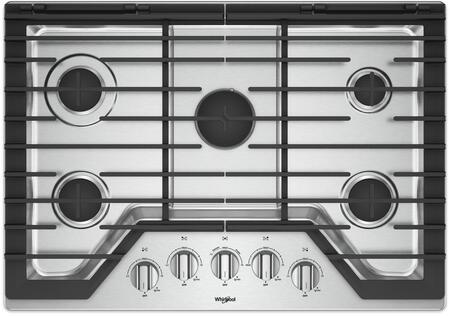 "Whirlpool WCG97US0HS 30"" 5 Burner Gas Cooktop with Griddle Stainless Steel"