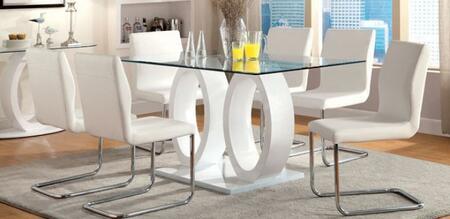 Furniture of America Lodia I CM3825WHTTABLE6SC Dining Room Set White, main image