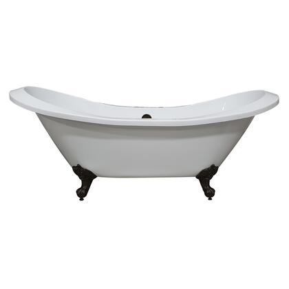 ADESXL-DH-ORB Extra Large Acrylic Double Slipper Clawfoot Tub  Oil Rubbe Bronze Feet and Deck Mount Faucet