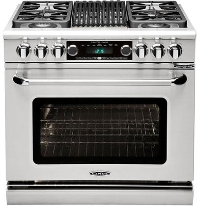 Capital Connoisseurian CSB362B2L Freestanding Dual Fuel Range Stainless Steel, Main Image