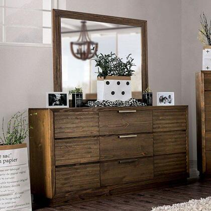 Tolna Collection CM7532D Dresser With Deep Wood Grain  Wooden Block Legs And Felt-lined Top Drawers In