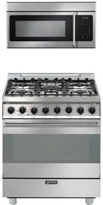 2-Piece Kitchen Appliances Package With C30GGXU1 30 Gas Freestanding Range with 5 Burners and OTR316XU 30 Over  the Range Microwave in Stainless