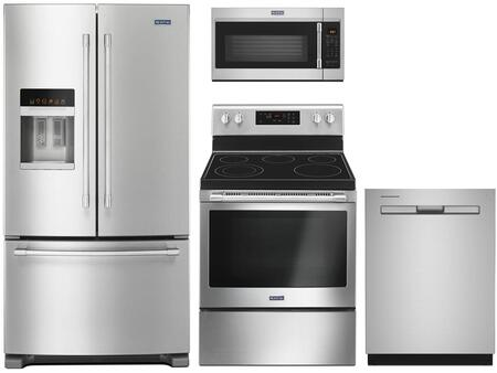 4 Piece Kitchen Appliances Package with MFI2570FEZ 36″ French Door Refrigerator  MER6600FZ 30″ Electric Range  MMV5227JZ 30″ Over the Range Microwave