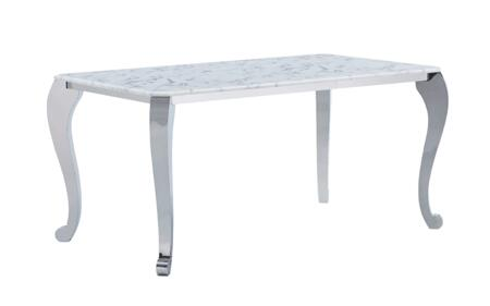 110DININGTABLE 63″ Dining Table with Marble Top  Cabriole Legs and Metal