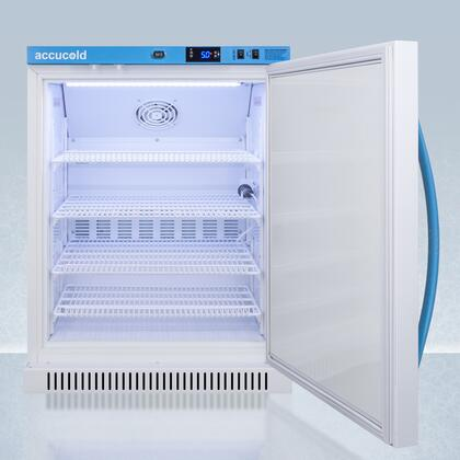 4 Wire Shelves AccuCold ARS6PV 24 Inch Freestanding Counter Depth Compact fridge with 6 cu High Temperature Alarm in White Right Hinge with Reversible Doors ft Capacity