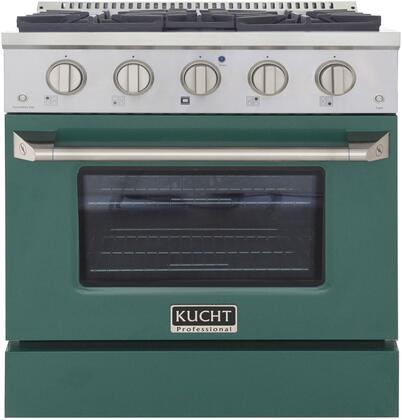 KNG301-G 30″ Green Freestanding Natural Gas Range with 4 Burners  4.2 cu. ft. Capacity Oven  Manual Convection Cooking Mode  Blue Porcelain Oven