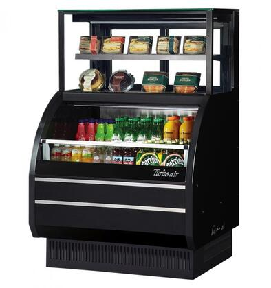 Turbo Air TOMW40SBUFN Display and Merchandising Refrigerator Black, TOMW40SBUFN Angled View