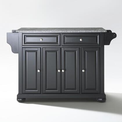 Alexandria Collection KF30003ABK Granite Top Island/Cart in Black