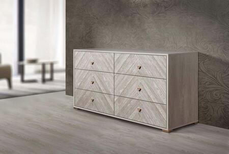 Florence Collection FLORE-DRS-WOM-25 61″ Dresser with 6 Soft Closing Drawers and Metal Handles in White Oak Matt