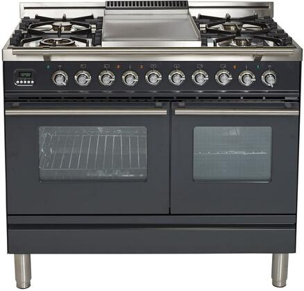 UPDW100FDMPMLP 40″ Professional Plus Series Freestanding Dual Fuel Liquid Propane Range with Griddle  2 Ovens  4 Sealed Burners  Warming Drawer  and