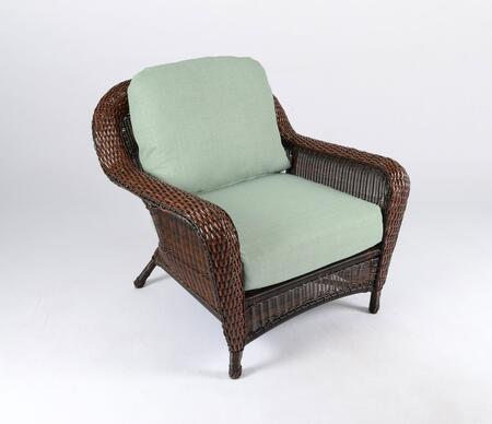 Sea Pines Collection LEX-C1-J-RAVES Club Chair in Java Wicker and Rave Spearmint Fabric