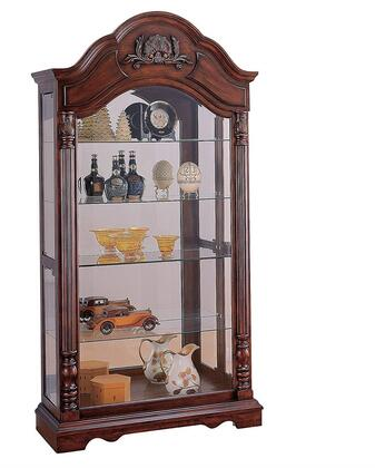 Denton Collection 90054 43 Curio Cabinet with 4 Tempered Glass Shelves  Glass Doors  Interior Lighting  Medium-Density Fiberboard (MDF) and Poplar