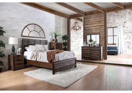 Furniture of America Hankinson CM7576QBDMCN Bedroom Set Brown, Main Image
