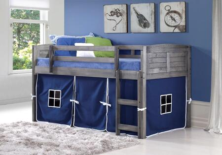 790-AAG-750C-TB 78″ Twin Louver Low Loft Bed with Built in Ladder  Blue Tent  Panel Headboard and Footboard in Antique
