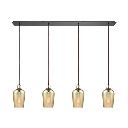 10840/4LP Hammered Glass 4 Light Linear Pan Fixture in Oil Rubbed Bronze with Hammered Amber Plated