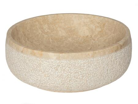 EB_S050BM-P Gral Round Vessel Sink in Beige Marble with Hammered