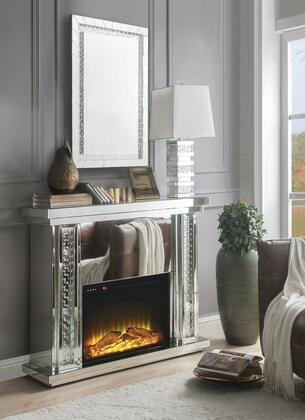 Acme Furniture Nysa 90254FM Fireplace Silver, Fireplace and Mirror