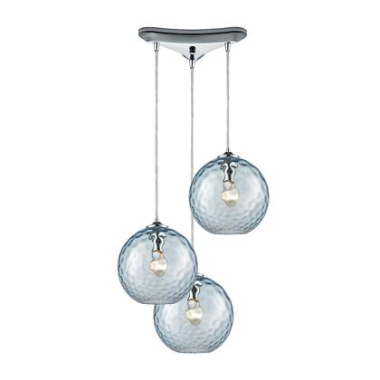 31380/3AQ Watersphere 3 Light Triangle Pan Fixture in Polished Chrome with Aqua Hammered