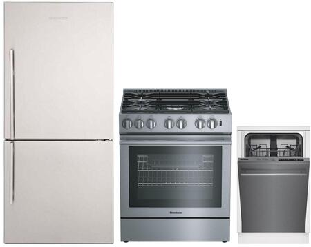 """3-Piece Kitchen Appliances Package with BRFB1812SSN 30"""" Bottom Freezer Refrigerator BGR30522SS 30"""" Gas Range and DWS51502SS 18"""" Built In Fully"""