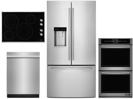 4 Piece Wi-Fi Connected Kitchen Appliances Package with JFFCC72EFS 36″ French Door Refrigerator  JJW3830DP 30″ Electric Double Wall Oven  JEC3430BS
