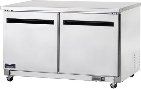 AUC60F 60″ Two Door Undercounter Worktop Freezer with 2 Shelves  15.5 cu. ft. Capacity  1/2 HP  Electronic Thermostat  in Stainless