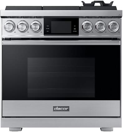 Dacor Contemporary DOP36M96GLS Freestanding Gas Range Stainless Steel, Front View