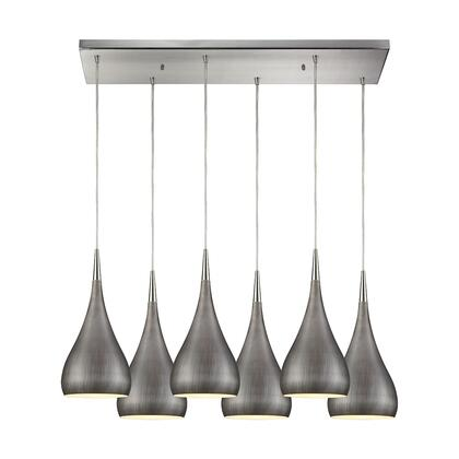 31341/6RC-WZ Lindsey 6 Light Rectangle Fixture in Satin Nickel with Weathered Zinc