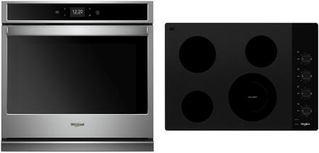 2 Piece Kitchen Appliances Package with WOS51EC0HS 30″ Electric Single Wall Oven and WCE55US0HB 30″ Electric Cooktop in Stainless