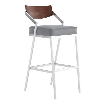 LCDKBABSGR26 Dakota Mid-Century 30″ Bar Height Barstool in Brushed Stainless Steel with Grey Faux Leather and Walnut Wood Finish
