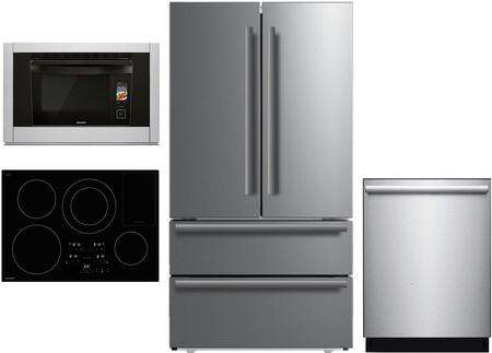 4 Piece Kitchen Appliances Packages with SJG2351FS 36″ Counter Depth 4 Door French Door Refrigerator  SSC3088AS 30″ Electric Single Wall Steam Oven