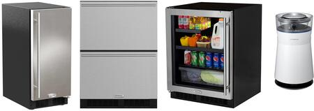 4 Piece Kitchen Appliances Package with MA24BRG3LS 24″ Compact Refrigerator  ML24RDS3NS 24″ Counter Depth Refrigerator  ML15CLS2RS 15″ Ice Maker and