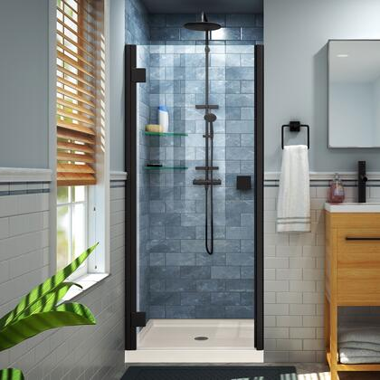 DL-533242-22-09 Lumen 32″ D x 42″ W by 74 3/4″ H Hinged Shower Door in Satin Black with Biscuit Acrylic Base