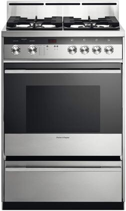 Fisher Paykel Contemporary OR24SDMBGX2N Freestanding Gas Range Stainless Steel, Front view
