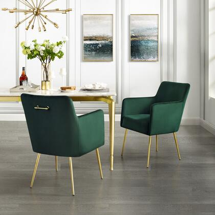 Perogo Collection DC91-02EM2-AC Set of 2 Dining Chairs with High Density Foam  Scooped Backrest and Velvet Upholstery in Emerald