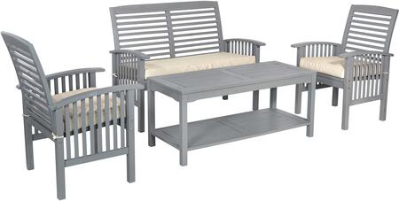 OW4SGW 4-Piece Classic Outdoor Patio Chat Set in Grey