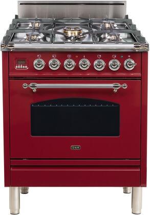 Ilve Nostalgie UPN76DVGGRBX Freestanding Gas Range Red, UPN76DVGGRBX Gas Range