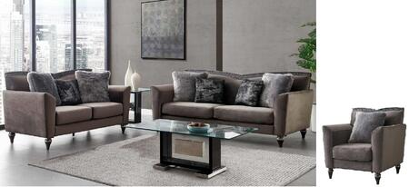 UFM801-SLC 3 Piece Living Room Set with Sofa Loveseat Accent Chair in Dark