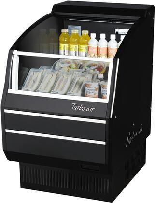 Turbo Air TOM30SBSPAN Display and Merchandising Refrigerator Black, TOM30SBSPAN Angled View