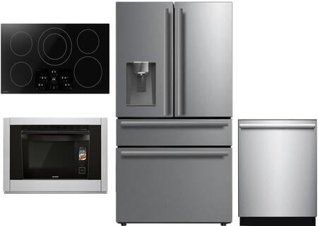 4 Piece Kitchen Appliances Package with SJG2254FS 36″ Counter Depth 4 Door French Door Refrigerator  SSC3088AS 30″ Electric Single Wall Steam Oven