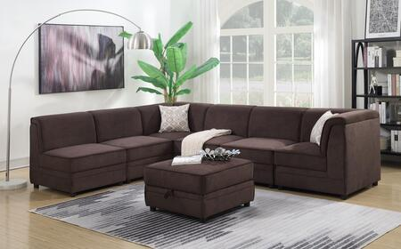 Myco Furniture Charlotte 20277PC Stationary Sofa Brown, 2027-7PC