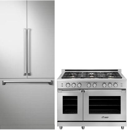 2 Piece Kitchen Appliances Package with DRF367500AP 36″ French Door Refrigerator and HGPR48CNGH 48″ Gas Range in Stainless