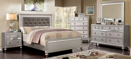 Furniture of America Avior CM7170SVFBEDNSCHDRMR Bedroom Set Silver, CM7170SV-F-BED-NSCHDRMR