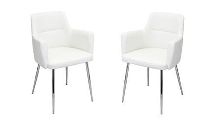 LumiSource Andrew CHANDRWW2 Dining Room Chair White, Dining Chair