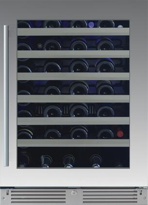 XOU24WGSR 24″ Single Zone Wine Cooler with 54 Bottle Capacity  Telescoping Wire Racks  Tri-Color LED Lighting and Low-E Glass Door in Stainless