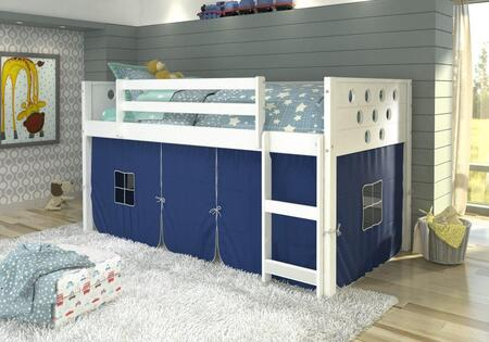780A-TW-750C-TB 79″ Low Loft with Blue Colored Tent  Built in Ladder  Circle Cut Out Design Headboard and Footboard in