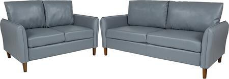 BT-S8373-SFLS-GRY-GG Milton Park Upholstered Plush Pillow Back Loveseat and Sofa Set in Gray