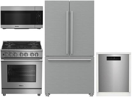 4 Piece Kitchen Appliances Package with BRFD2230SS 36″ French Door Refrigerator  BDFP34550SS 30″ Dual Fuel Gas Range  BOTR30100SS 30″ Over the Range